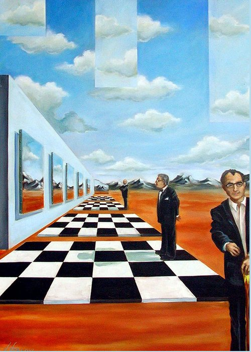 Surreal Greeting Card featuring the painting The Gallery by Valerie Vescovi
