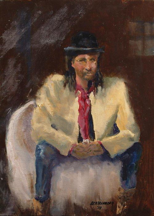 Figurative Greeting Card featuring the painting The Gambler by Bryan Alexander