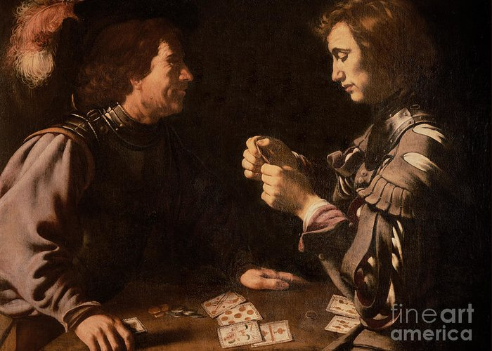 The Gamblers (oil On Canvas) By Michelangelo Caravaggio (1571-1610) Card Playing; Coins; Plume; Gambler; Pack Of Cards; Trickster; Competition; Competitive; Chiaroscuro; Gambling Greeting Card featuring the painting The Gamblers by Michelangelo Caravaggio
