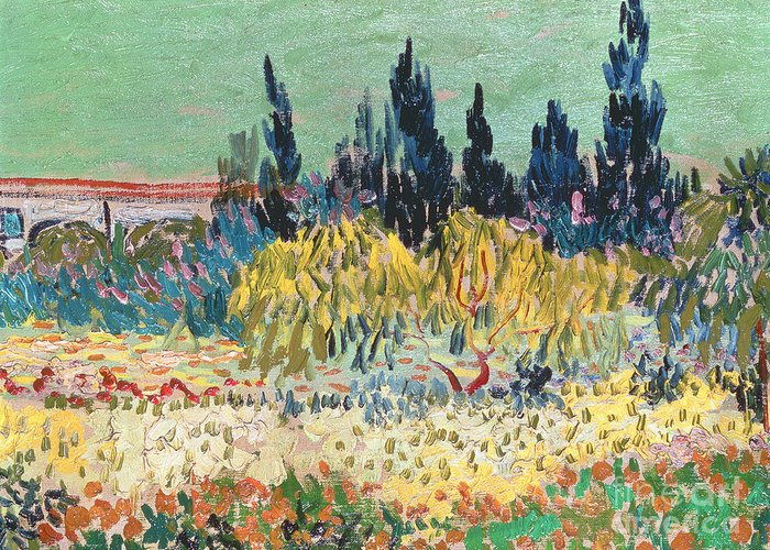 Garden In Bloom Greeting Card featuring the painting The Garden At Arles by Vincent Van Gogh
