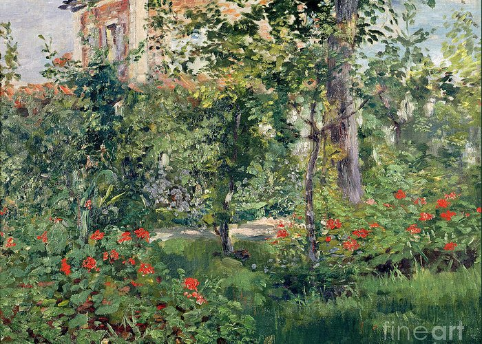 Garden Greeting Card featuring the painting The Garden At Bellevue by Edouard Manet