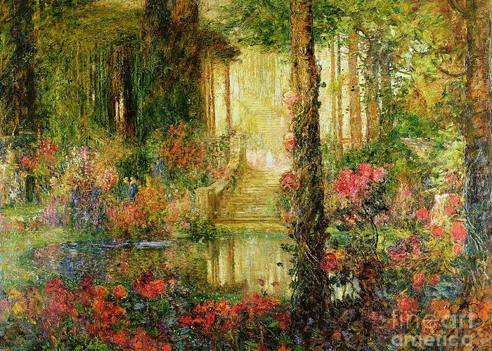 The Greeting Card featuring the painting The Garden Of Enchantment by Thomas Edwin Mostyn