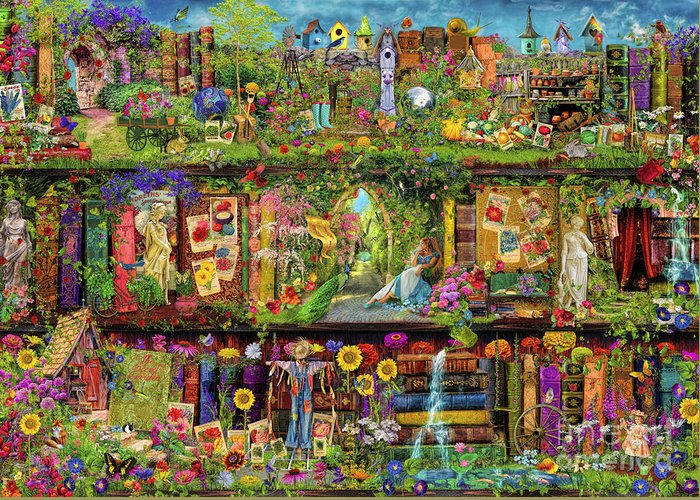 Aimee Stewart Greeting Card featuring the digital art The Garden Shelf by MGL Meiklejohn Graphics Licensing
