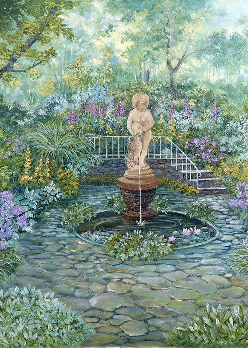 Fountain;statue;lily Pond;garden;oil Painting; Greeting Card featuring the painting The Garden Triptych Middle Painting by Lois Mountz