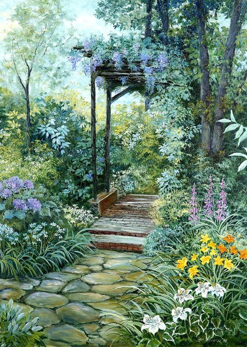 Oil Painting;wisteria;garden Path;lilies;garden;flowers;trellis;trees;stones;pergola;vines; Greeting Card featuring the painting The Garden Triptych Right Side by Lois Mountz