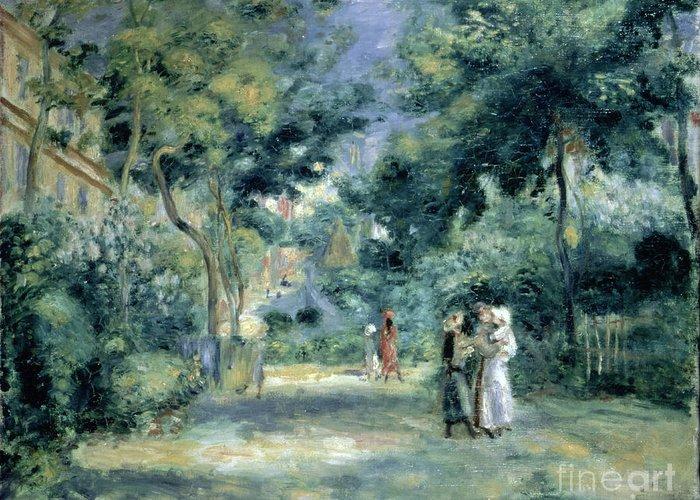 The Gardens In Montmartre Greeting Card featuring the painting The Gardens In Montmartre by Pierre Auguste Renoir