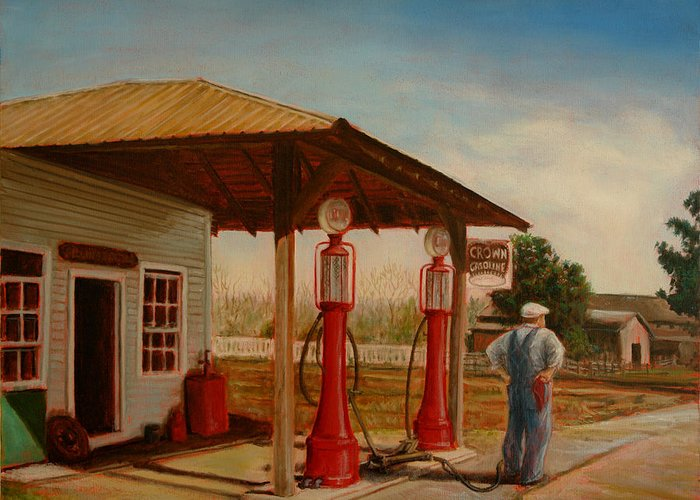 Gasoline Greeting Card featuring the painting The Gas Caper by Lance Anderson