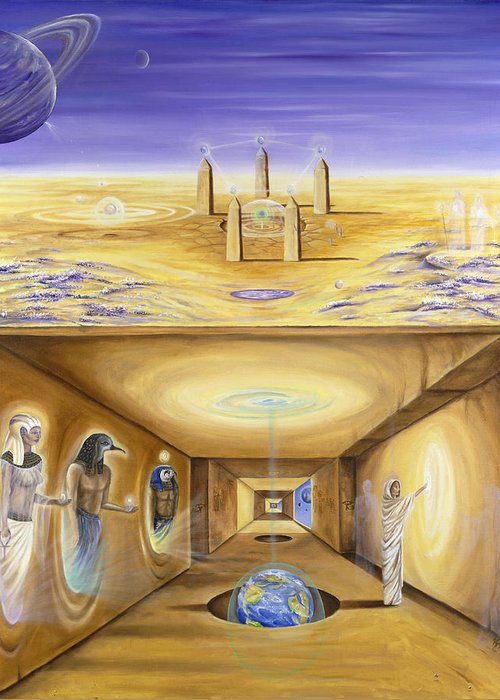 Egypt Greeting Card featuring the painting The Gate Keeper by Teresa Gostanza