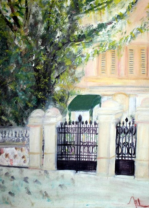 Architecture Greeting Card featuring the painting The Gatehouse At Villa Mariposa by Michela Akers