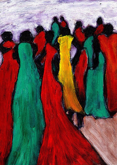 Black Art Greeting Card featuring the painting The Gathering by Wayne Potrafka