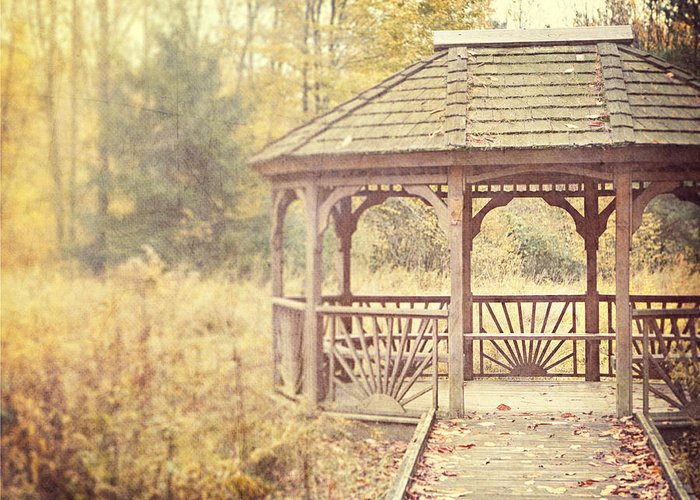 Gazebo Greeting Card featuring the photograph The Gazebo In The Woods by Lisa Russo
