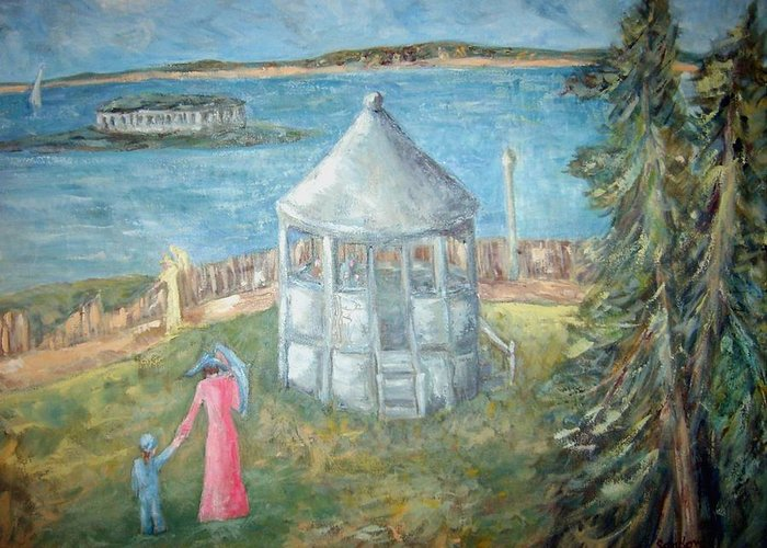 Landscape Greeting Card featuring the painting The Gazebo by Joseph Sandora Jr