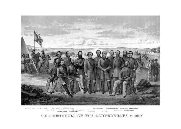 Civil War Greeting Card featuring the mixed media The Generals Of The Confederate Army by War Is Hell Store