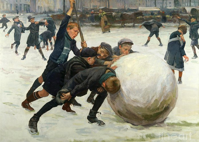 The Greeting Card featuring the painting The Giant Snowball by Jean Mayne