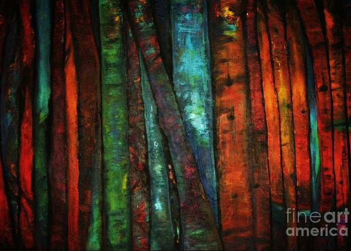 Trees Greeting Card featuring the painting The Giants Two by Sidra Myers