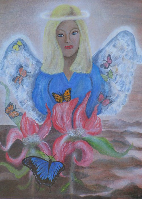 Angel Greeting Card featuring the painting The Gift by Mikki Alhart