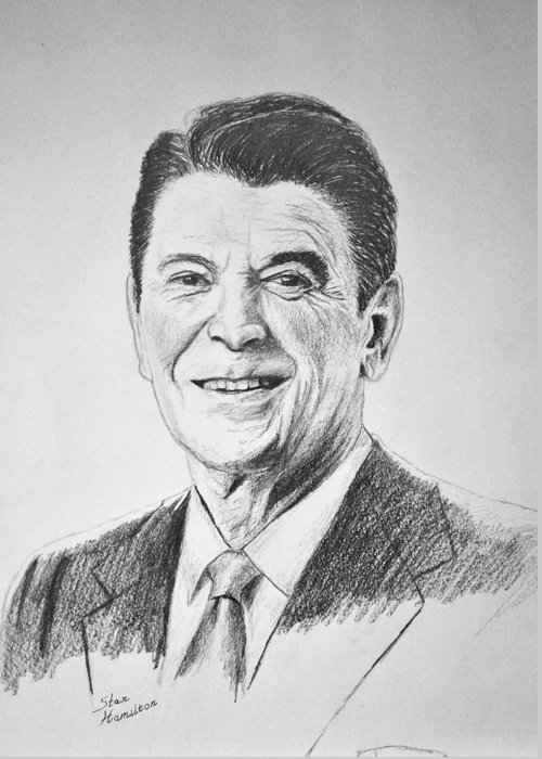 Pencil Greeting Card featuring the drawing The Gipper by Stan Hamilton