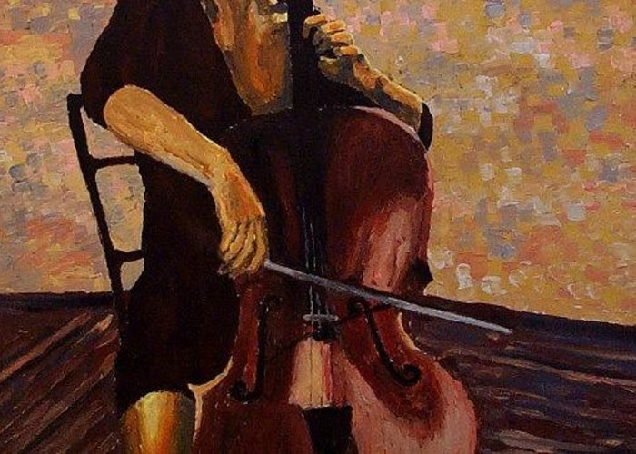 Cello Greeting Card featuring the painting The Girl And Her Cello by Mats Eriksson