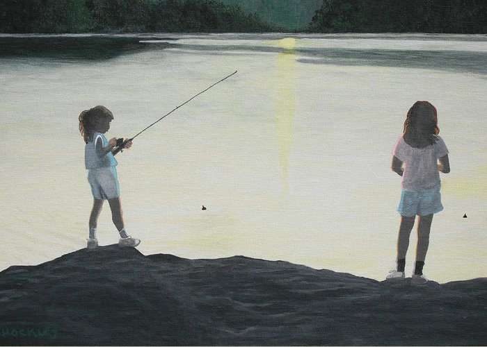 Girls Greeting Card featuring the painting The Girls At The Lake by Candace Shockley