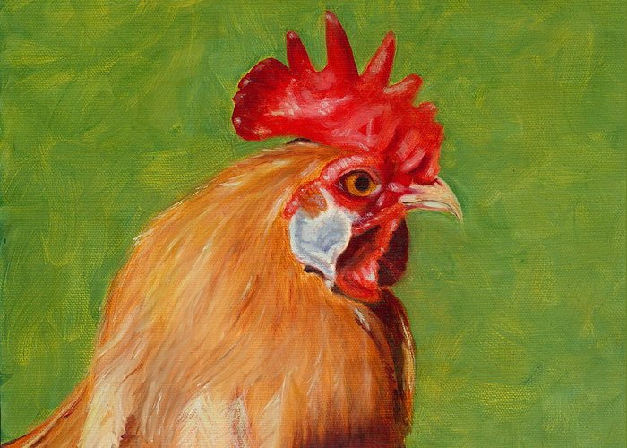 Rooster Greeting Card featuring the painting The Gladiator by Paula Emery