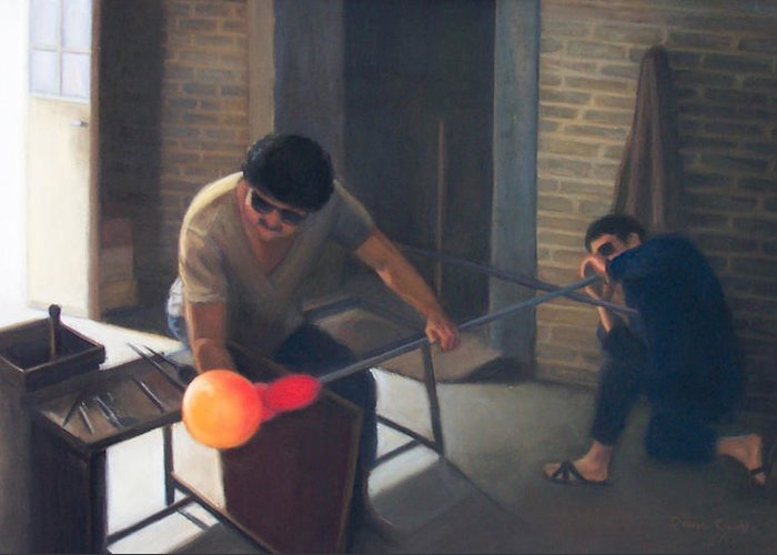 Glassblowers Greeting Card featuring the painting The Glassblowers by Diane Caudle