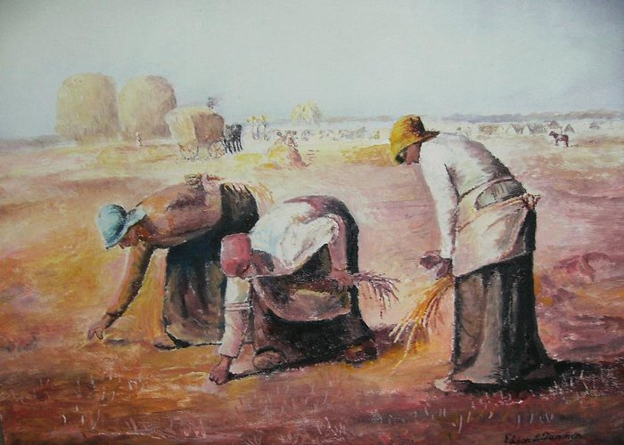Gleaners Greeting Card featuring the painting The Gleaners After Millet By My Dad by Anne-Elizabeth Whiteway