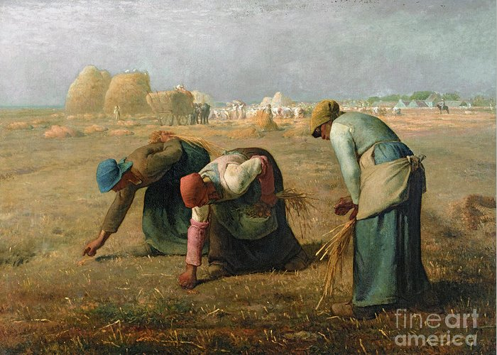 The Greeting Card featuring the painting The Gleaners by Jean Francois Millet