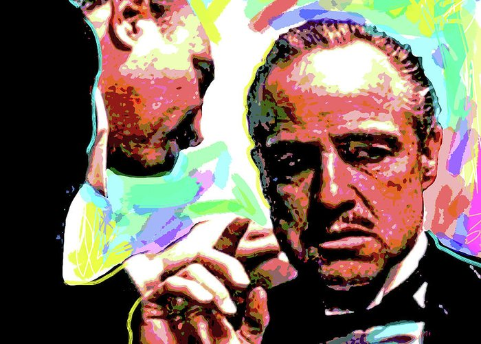 Movie Stars Greeting Card featuring the painting The Godfather - Marlon Brando by David Lloyd Glover