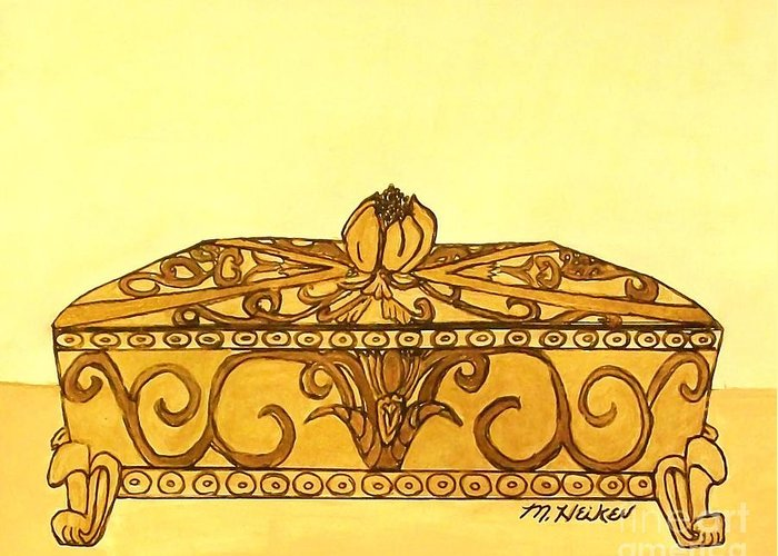 India Ink Greeting Card featuring the painting The Golden Jewelry Box by Marsha Heiken