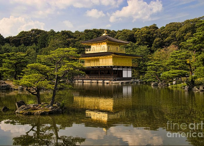 Colour Greeting Card featuring the photograph The Golden Pagoda In Kyoto Japan by David Smith