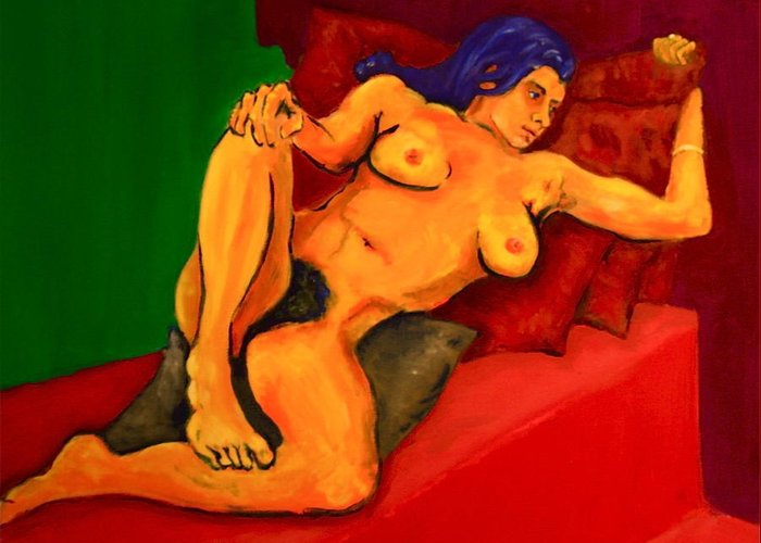 Nude Greeting Card featuring the painting The Golden Pose by Dan Earle