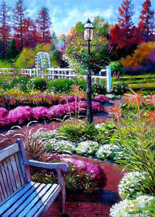 Garden Path Greeting Card featuring the painting The Golden Season by John Lautermilch