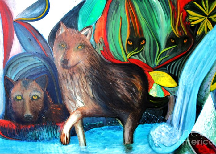 Wolves Greeting Card featuring the painting The Good and the Evil by Pilar Martinez-Byrne