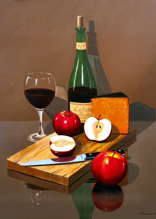 Still Life Greeting Card featuring the painting The Good Life by Brooke Lyman