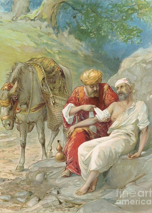 Bible Stories; Biblical; The Good Samaritan; Healing; Kindness; Parable; Jesus Christ Greeting Card featuring the painting The Good Samaritan by Ambrose Dudley