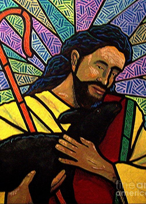 Jesus Greeting Card featuring the painting The Good Shepherd - Practice Painting One by Jim Harris
