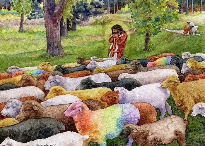 Jesus Painting Greeting Card featuring the painting The Good Shepherd by Anne Gifford