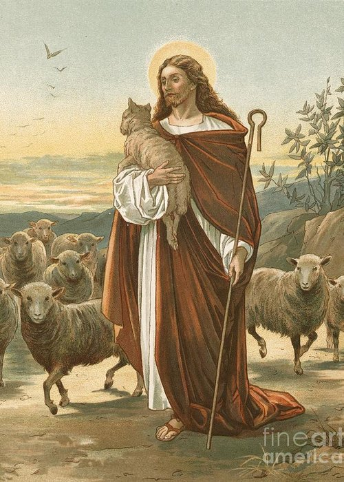 Bible; The Good Shepherd; Jesus Christ; Sheep; Halo; Crook Greeting Card featuring the painting The Good Shepherd by John Lawson