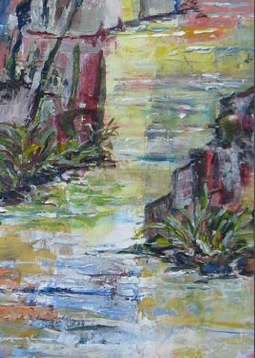 River Greeting Card featuring the painting The Gorge by Judith Espinoza