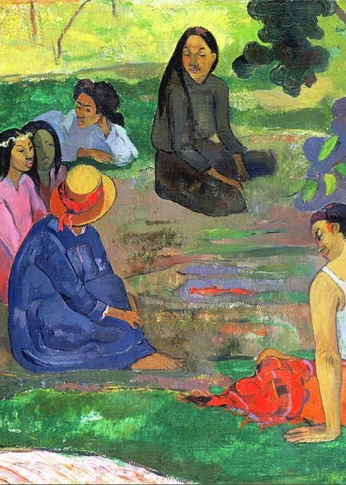 Hat; Post-impressionist; Tropical; Tahitian; Women; Sitting; Talking; Les Potins Greeting Card featuring the painting The Gossipers by Paul Gauguin