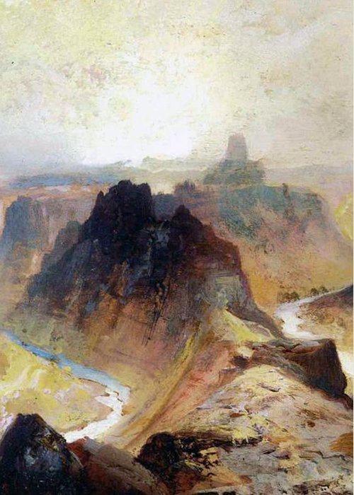 Thomas Moran Greeting Card featuring the painting The Grand Canyo by Thomas Moran