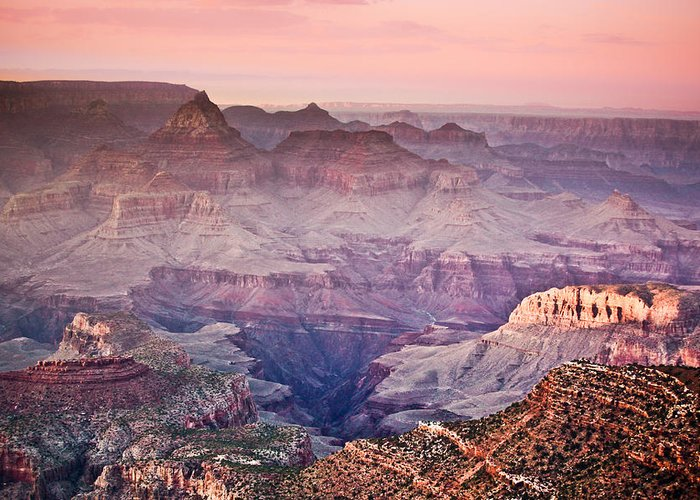 ryankellyphotography@gmail.com Greeting Card featuring the photograph The Grand Canyon South Rim At Dusk by Ryan Kelly
