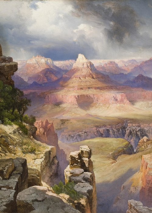 The Grand Canyon Greeting Card featuring the painting The Grand Canyon by Thomas Moran