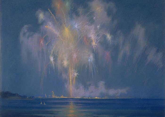 The Greeting Card featuring the painting The Grand Finale by Lendall Pitts