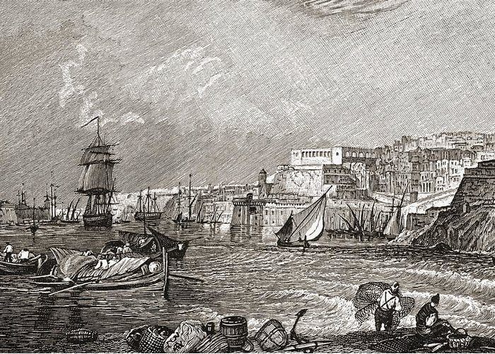 Harbour Greeting Card featuring the drawing The Grand Harbour, Valetta, Malta After by Vintage Design Pics