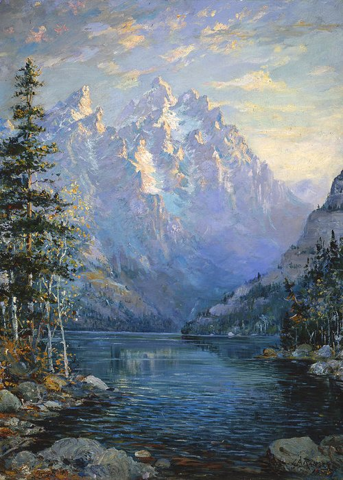 Wyoming Greeting Card featuring the painting The Grand Tetons And Jenny Lake by Lewis A Ramsey