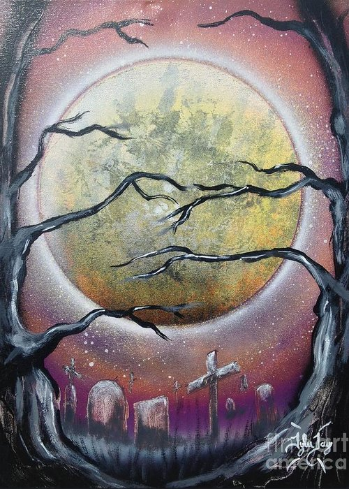 Moon Greeting Card featuring the painting The Graveyard by Tyler Haddox