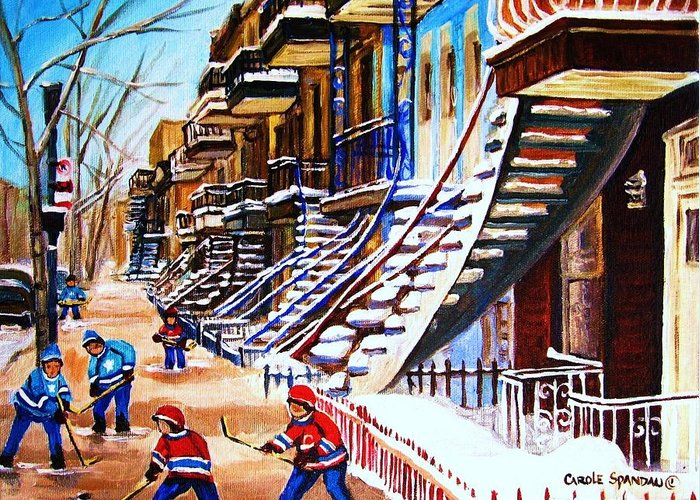 Hockey Greeting Card featuring the painting The Gray Staircase by Carole Spandau