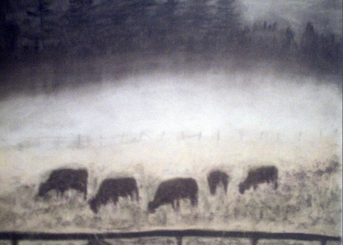 Landscape Greeting Card featuring the painting The Grazers by Jack Spath
