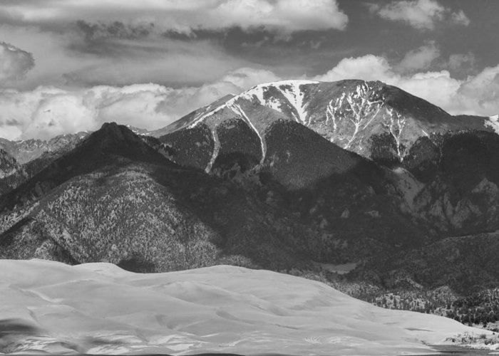 The Great Colorado Sand Dunes; Great Sand Dunes National Park And Preserve; Black And White Sand Dunes Prints; Black And White Sand Dunes Canvas Art; Colorado; Sand; Dunes; Nature Photography Prints; Landscape Photography Prints;  Greeting Card featuring the photograph The Great Colorado Sand Dunes 125 Black And White by James BO Insogna
